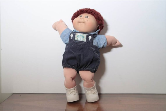 1985 Cabbage Patch Kid Boy Doll in Denim Overall Outfit with Dark Brown Hair