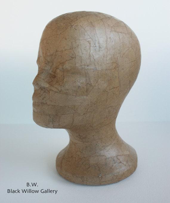 Natural Butchers Paper Mannequin Head Wig Hat  Display Vintage