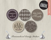 216 Custom Kiss Candy Stickers - Classic Lace and Argyle Set  - DIY Wedding