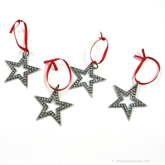 Star ornament set of white rustic western stars for christmas for Decor star 005 ss