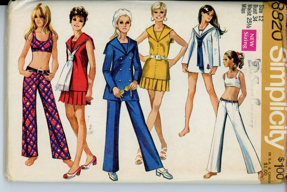 Simplicity 8820 Misses 1970s Mod Sepatates Pattern Sailor Collar Top Bra Skirt Hip Hugger Pants Womens Vintage Sewing Pattern Bust 34 UNCUT
