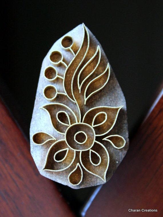 Handmade  Indian Wood and Brass Stamp Block- OOAK Floral Motif