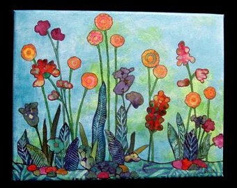 Mixed Media Collage Painting Fantasy Garden