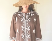1960s Brown and White Embroidered Hippie Caftan Tunic Dress / Medium