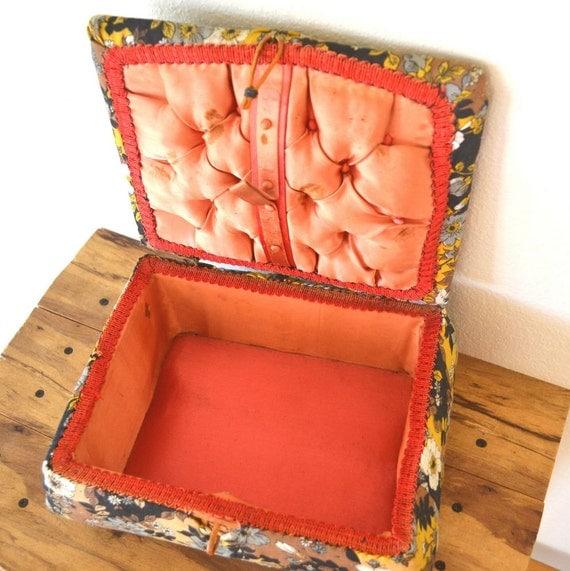 Retro Floral Fabric Sewing Basket Vintage 1960s Straw Box Craft Storage