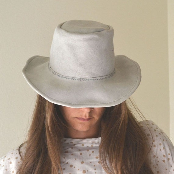 Vintage Light Gray Suede Leather Cowboy Hat Small
