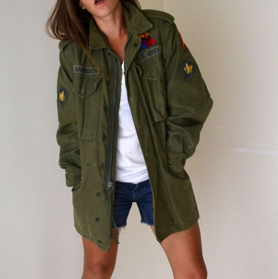 Vintage Green Canvas US Army Long Bomber Jacket Mens X-Small / Womens S / M