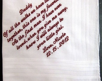 Father of the Bride Handkerchief --corner design with Wedding date White includes gift box