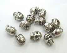 6x9mm Charm Skull Metal Silver Tone Lot 40 Loose Beads Bulk Wholesale Charm -  4697 -