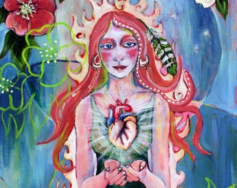 "Compassion 7"" x14"" PRINT - love art, fire art, human heart, pink blue green, hellebore flowers, compassion art"