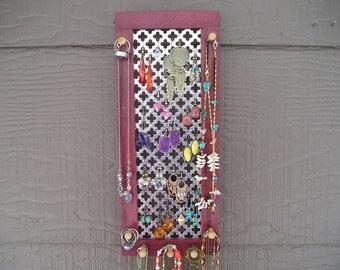 Earring holder, Wall Organizer, Purple Heart Jewelry Organizer, Wall Organizer, African Wood, Woodworking, jewellery