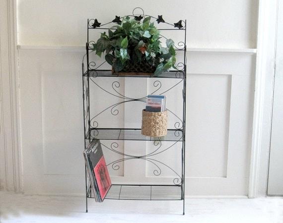 Vintage Wire Rack Bookshelf Plant Stand - Cottage Style