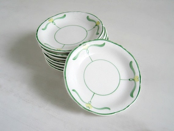 Vintage China Butter Pats - Green & Yellow - Cottage Chic