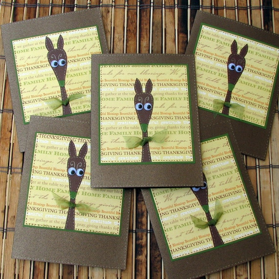 Greyhound Thanksgiving cards humorous greyhound copper yellow green set of 5 silly old greyhound