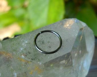 Hoop Earring - Tragus - Helix - Nose - Cartilage Earring - Sterling Silver Antique Earring 22-16 Gauge 10mm Inner Diameter Hoop