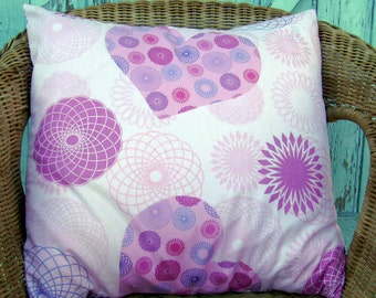 SALE - pink pillow cover- childrens pillow cover- girls pillow cover- heart pillow cover- glitter pillow cover