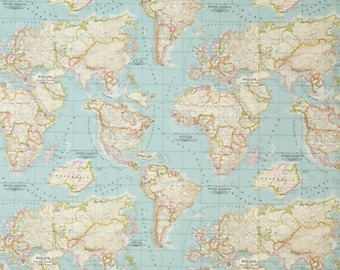map fabric, world map fabric, fabric map of the world, world fabric, mint blue fabric, fabric map, world fabric yardage, blue map fabric