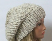 Chunky Knit Oatmeal Slouchy Beret Hat