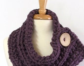 Made to Order - Chunky Knit Dusty Purple Cowl Scarf with Large Cream Button