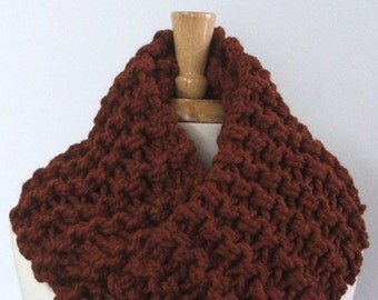 Ready to Ship - Chunky Knit Spice Brown Long Infinity Cowl Scarf