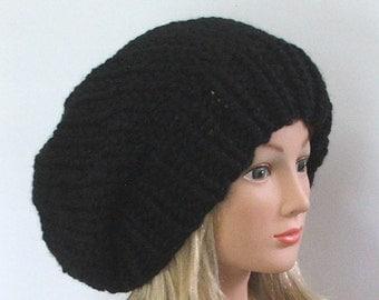 Made to Order - Chunky Knit Ebony Black Slouchy Beret Hat