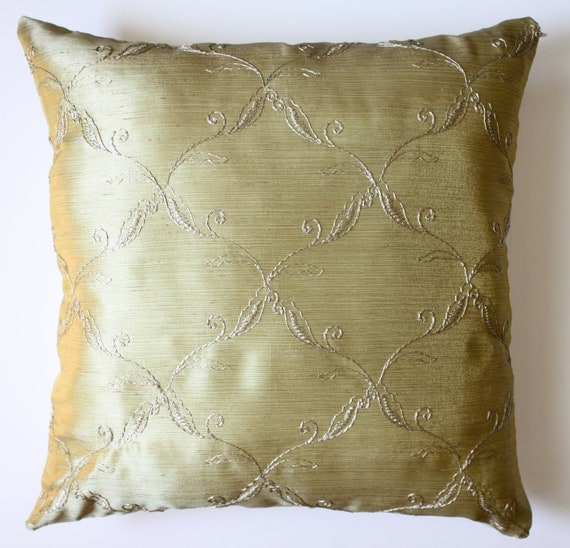 16X16 Olive and Cream Pillow Cover