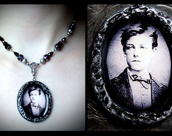 Arthur Rimbaud French poet polymer clay pendant, romantic, mourning, Victorian, vintage, antique, filigree, purple, glass beaded, silver