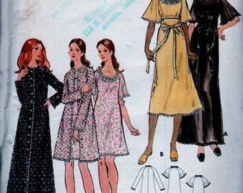 Vintage 70's Butterick Pattern Nightgown and Robe Size 14