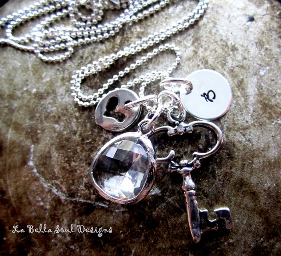 Personalized Sterling Silver Hand Stamped Key to My Heart Story Initial Necklace