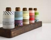 Sturdy Dark Washi Tape Organizer - Wood Masking Tape Holder - Eco friendly Japanese Tape Dispenser for 25 rolls - under 50 gift
