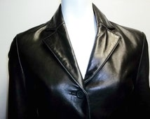 Vintage Adler Collection black leather jacket xs s New Zealand Lambskin