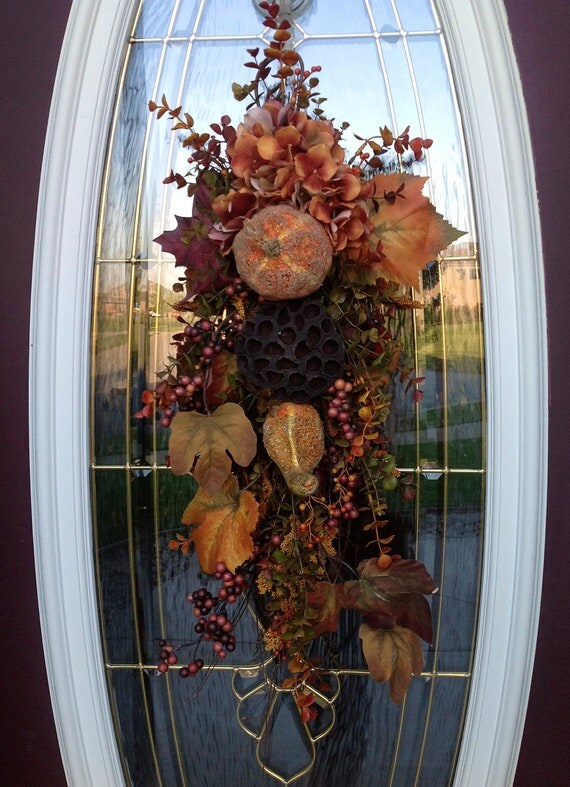 "Fall Twig Teardrop Vertical Swag Door Decor..""Autumn's Amber"" OOAK"