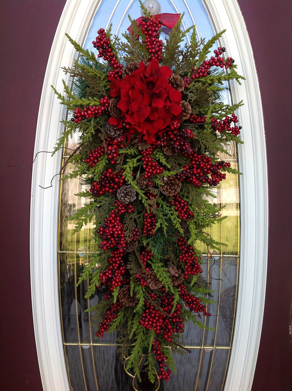 Christmas wreath winter wreath holiday vertical teardrop swag Christmas wreath decorations