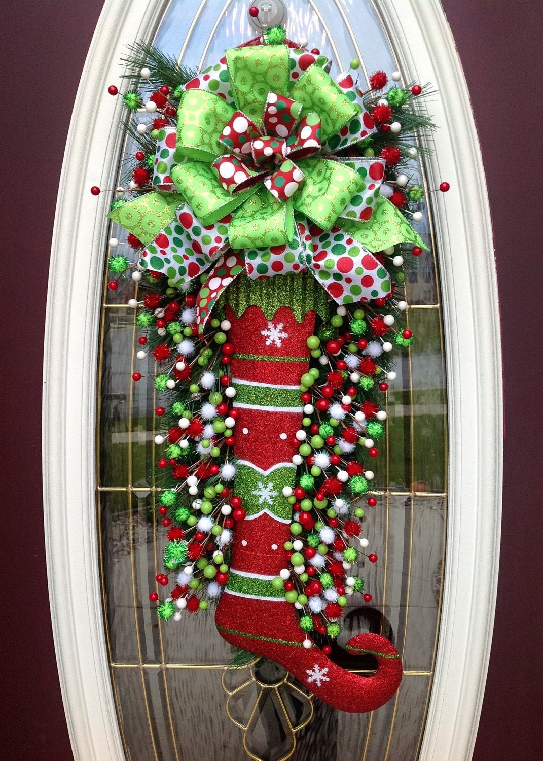 Christmas Wreath Door Wreath Teardrop Vertical Swag