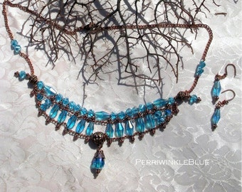 Renaissance Necklace and Earrings Set with Blue Lake Crystals and Antiqued Copper, Angeline ,OOAK