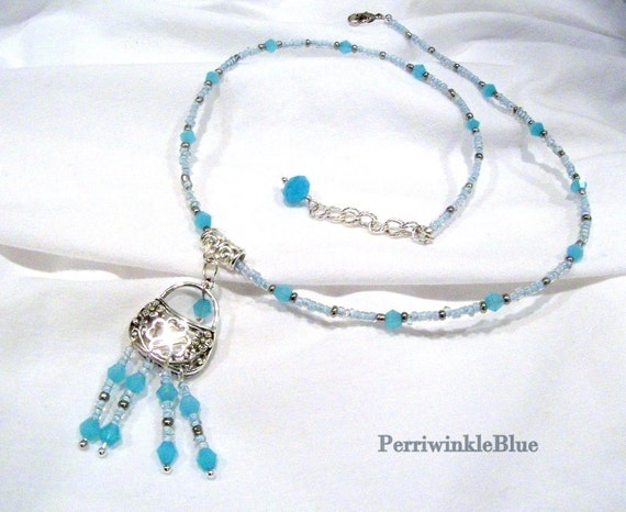 Judy Blue Eyes, Blue Opal Crystals and Silver, Necklace and Earrings Set, Silver Purse Charm with Fringe Beads