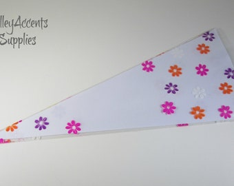 Clear Cellophane Cone Shaped Bags with Flowers