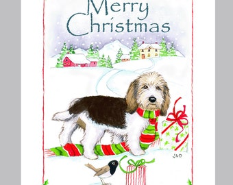 Petit Basset Griffon Vandeen Christmas Card Box of 16 Cards and Envelopes