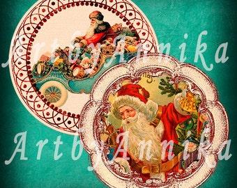 Santa Claus - 20 2x2 inch Circle JPG images