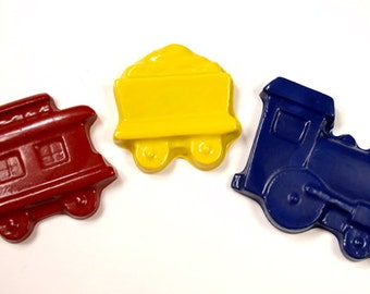 Train shaped crayons  by Scribblers Crayons
