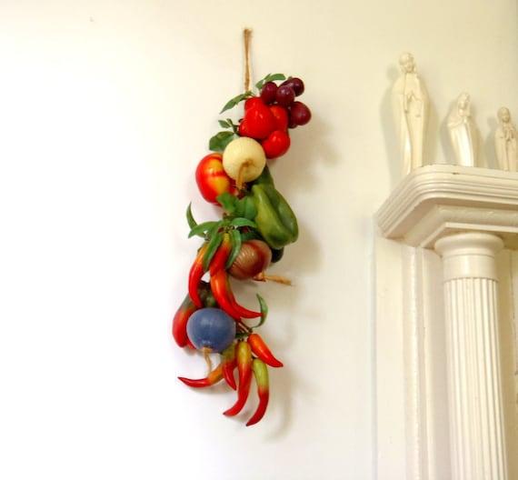 Kitchen Decor Fruit And Vegetable Bohemian Vintage 1970s