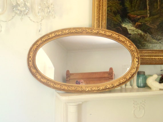 Large vintage long oval wall hanging mirror gold by honestjunk for Long wall hanging mirrors