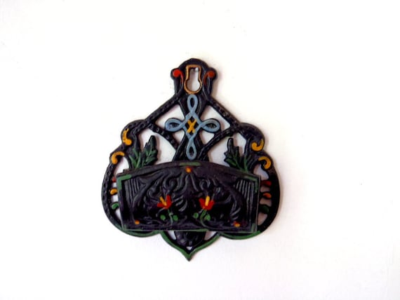 Match Holder Vintage Cast Iron Wall Hanging Wall Pocket