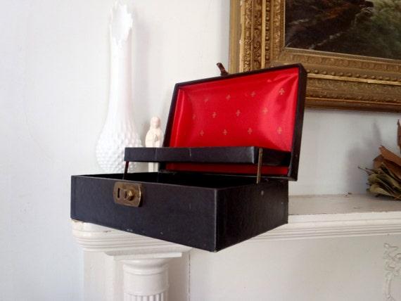 Vintage Jewelry Box 1960s Black Jewelry Chest