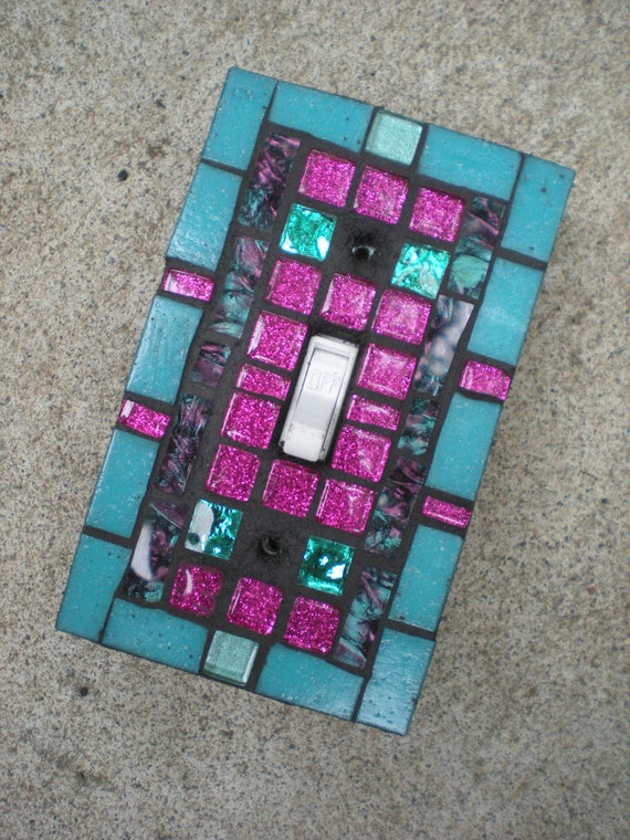 Mosaic Light Switch Cover - Teal, Magenata, and a hint of Purple Glass Switchplate