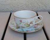 Vintage Hutschenreuther Selb Bavaria Maple Leaf Design Tea Cup And Saucer.