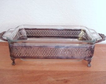 Vintage Silver Plated LOAF BAKE DISH Stand Holder With Anchor Hocking Clear Glass Loaf Dish.