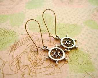 Ship Wheel Earrings, Ship Wheel Tibetan Pendant, Ship Wheel