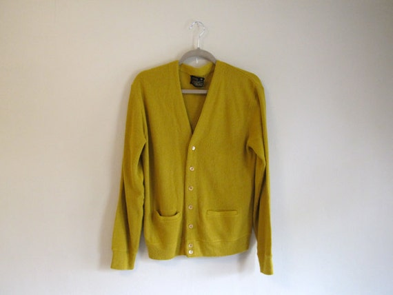 Mustard Color Cardigan Sweater - Grandpa Sweater - Vintage Cardigan - Retro Golf Sweater - Hipster Trend - Unisex Vintage