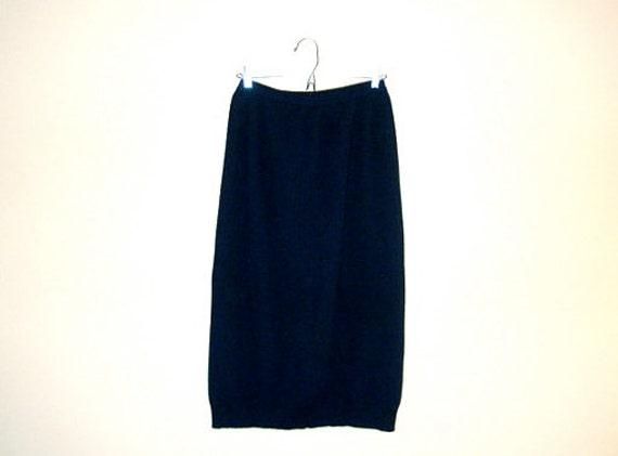 Pencil SKIRT - Sweater Skirt - VINTAGE Dark Navy Blue - Midi Length - Fully Lined - Made in France